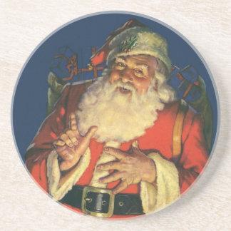 Vintage Christmas, Jolly Santa Claus with Toys Coaster
