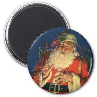 Vintage Christmas, Jolly Santa Claus with Toys Fridge Magnet