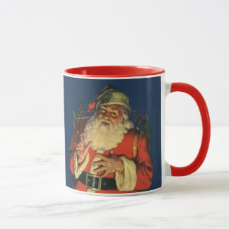 Vintage Christmas, Jolly Santa Claus with Toys Mug