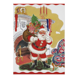 Vintage Christmas, Jolly Santa Claus with Toys Poster
