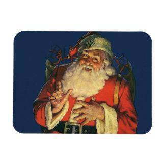 Vintage Christmas, Jolly Santa Claus with Toys Rectangular Photo Magnet