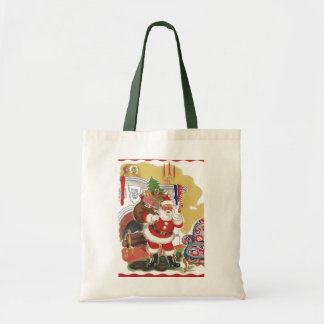 Vintage Christmas, Jolly Santa Claus with Toys Canvas Bags