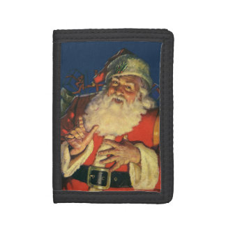 Vintage Christmas, Jolly Santa Claus with Toys Trifold Wallets
