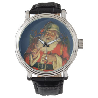 Vintage Christmas, Jolly Santa Claus with Toys Watches