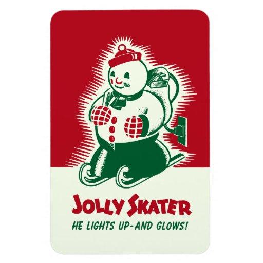 Vintage Christmas Jolly Skater Magnet