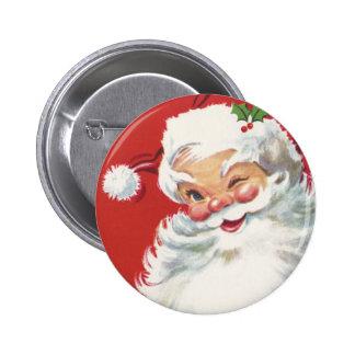 Vintage Christmas, Jolly Winking Santa Claus 6 Cm Round Badge