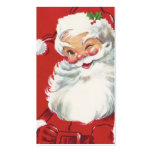Vintage Christmas, Jolly Winking Santa Claus Double-Sided Standard Business Cards (Pack Of 100)