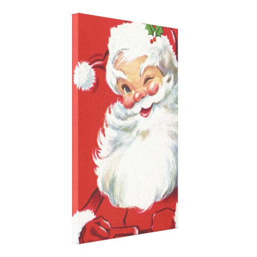 Vintage Christmas, Jolly Winking Santa Claus Gallery Wrapped Canvas