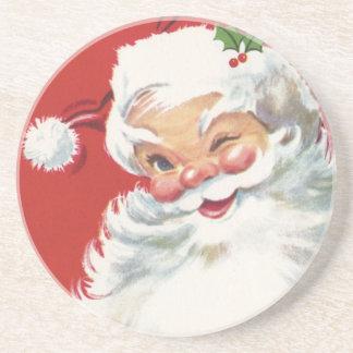 Vintage Christmas, Jolly Winking Santa Claus Coaster