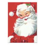 Vintage Christmas, Jolly Winking Santa Claus 13 Cm X 18 Cm Invitation Card