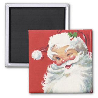 Vintage Christmas, Jolly Winking Santa Claus Magnet