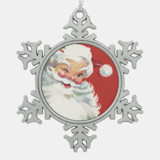 Vintage Christmas, Jolly Winking Santa Claus Pewter Snowflake Decoration