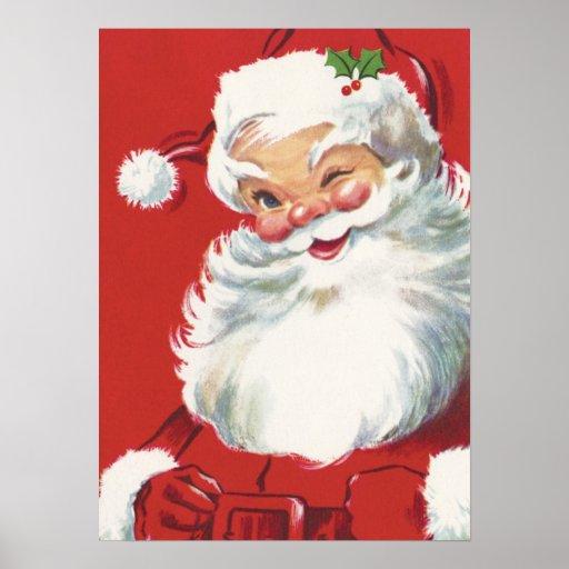 Vintage Christmas, Jolly Winking Santa Claus Poster