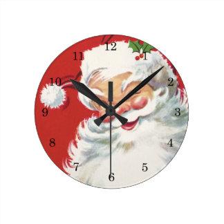 Vintage Christmas, Jolly Winking Santa Claus Round Clock