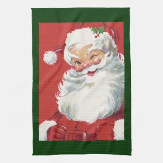 Vintage Christmas, Jolly Winking Santa Claus Tea Towel