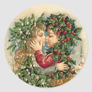 Vintage Christmas Kiss sticker