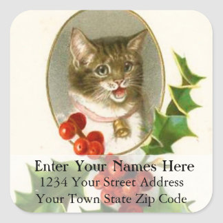 Vintage Christmas Kitten And Holly Address Label Square Sticker