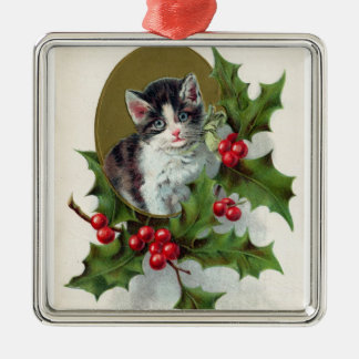 Vintage Christmas Kitten And Red Berries Christmas Ornament