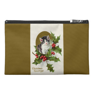Vintage Christmas Kitten Gold Travel Accessory Bag