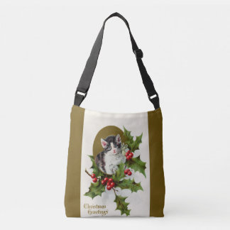 Vintage Christmas Kitten Gold Crossbody Bag
