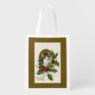 Vintage Christmas Kitten Gold Reusable Grocery Bags