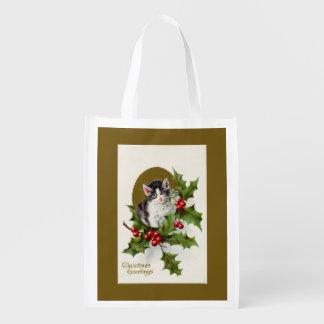 Vintage Christmas Kitten Gold Reusable Bag Reusable Grocery Bags