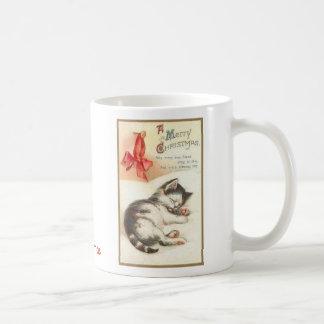 Vintage Christmas Kitten Mug