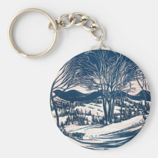 Vintage Christmas Landscape, Snow Trees Mountains Keychains