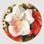 Vintage Christmas Lilly Round Sticker