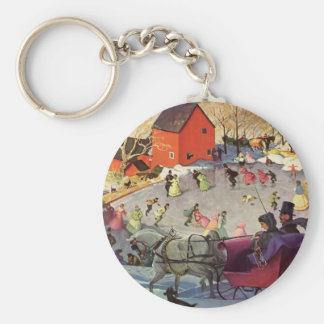 Vintage Christmas, Love and Romance Sleigh Basic Round Button Key Ring