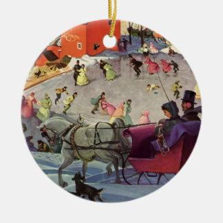 Vintage Christmas, Love and Romance Sleigh Round Ceramic Decoration
