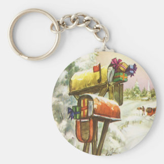Vintage Christmas, Mailboxes in Winter Landscape Basic Round Button Key Ring