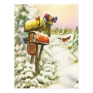 Vintage Christmas, Mailboxes in Winter Landscape Postcard