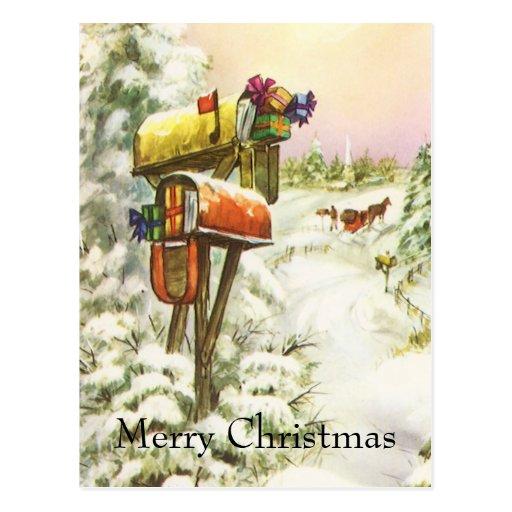 Vintage Christmas, Mailboxes in Winter Landscape Postcards