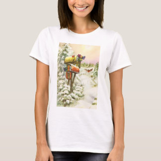 Vintage Christmas, Mailboxes in Winter Landscape T-Shirt