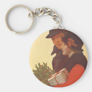 Vintage Christmas, Man and Woman Gift Shopping Basic Round Button Key Ring