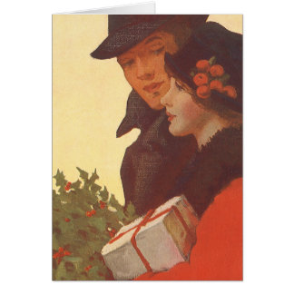 Vintage Christmas, Man and Woman Gift Shopping Greeting Card
