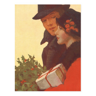 Vintage Christmas, Man and Woman Gift Shopping Postcard