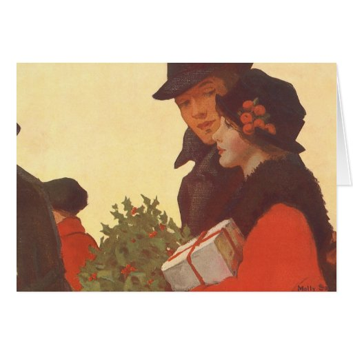 Vintage Christmas, Man and Woman Shopping Card