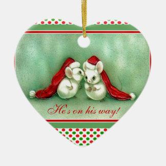 Vintage Christmas Mice with Red Santa Hats Christmas Ornament