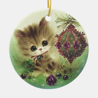 Vintage Christmas Mid Century Pastel Kitten Round Ceramic Decoration