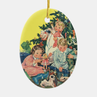 Vintage Christmas Morning, Children Opening Gifts Ceramic Oval Decoration