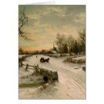 Vintage Christmas Morning Sleigh Ride Greeting Card