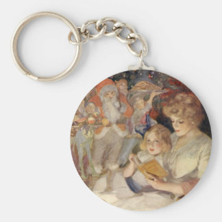 Vintage Christmas, Mother Reading Bedtime Story Basic Round Button Key Ring