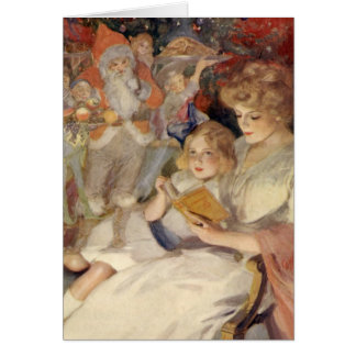 Vintage Christmas, Mother Reading Bedtime Story Card