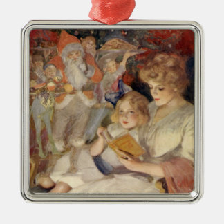 Vintage Christmas, Mother Reading Bedtime Story Christmas Ornament