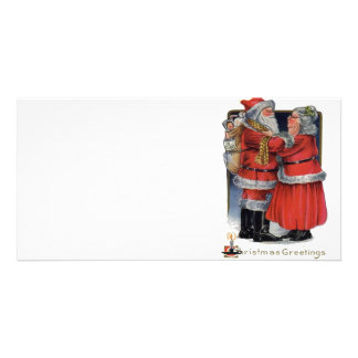 Vintage Christmas - Mr and Mrs Claus Customized Photo Card