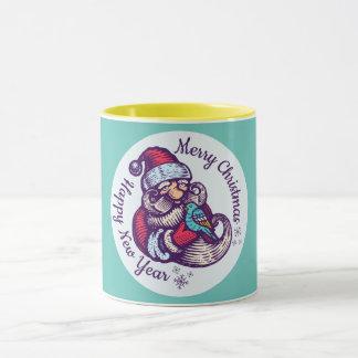 Vintage Christmas mug with Santa Claus