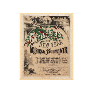 Vintage Christmas musical poster old typography Gallery Wrapped Canvas