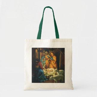 Vintage Christmas Nativity, Baby Jesus in Manger Budget Tote Bag